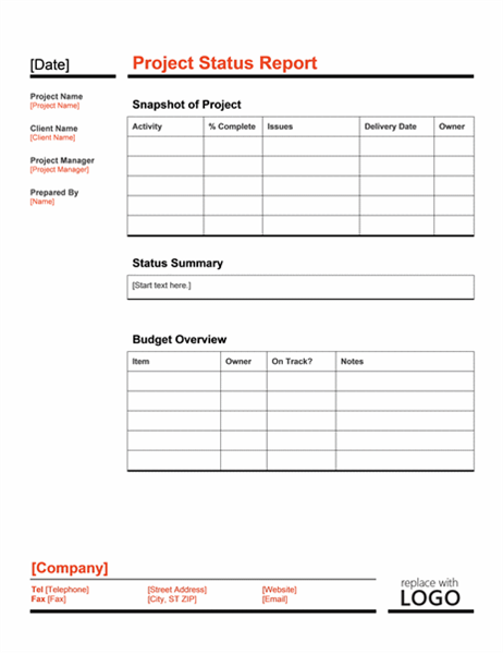 Project status report Red and Black Office Templates – Status Report Template Word