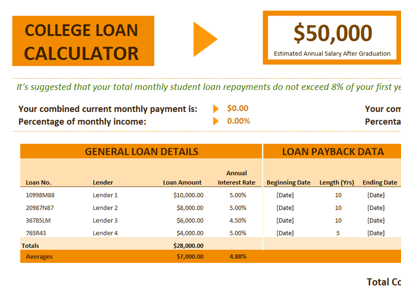 College Loan Calculator  Loan Templates