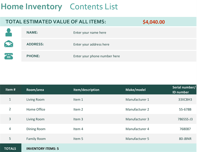 Templates Support Buy Office 365. Home Inventory  Inventory Worksheet Template