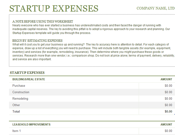 Startup expenses lt02802366g flashek Images