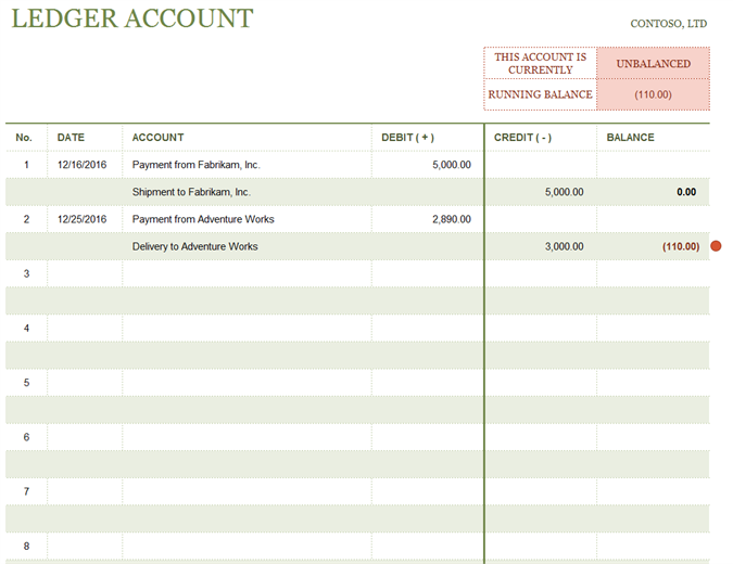 T-account ledger - Office Templates