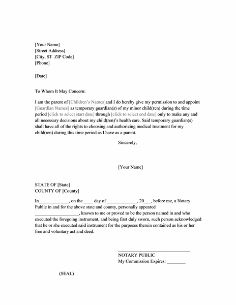 Power of attorney letter for child care - Office Templates