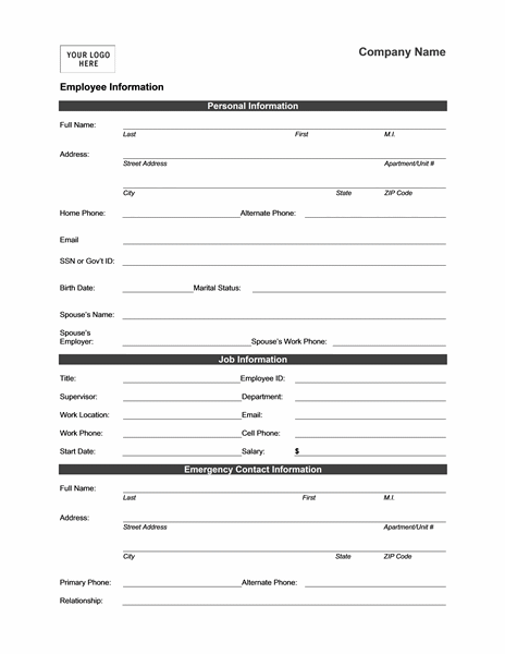 Good Employee Information Form  Personal Information Template