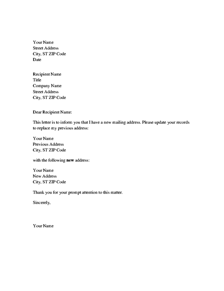 Address change notification letter Office Templates – Address Change Letter Template