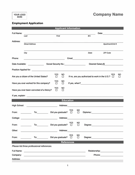 Employment application online for Candidate application form template