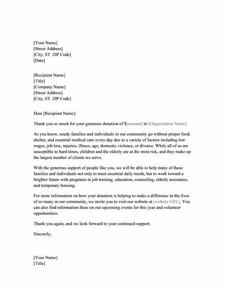 Fundraising thank you letter - Office Templates