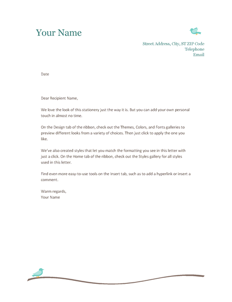 Wonderful Personal Letterhead To Letter Templates Word