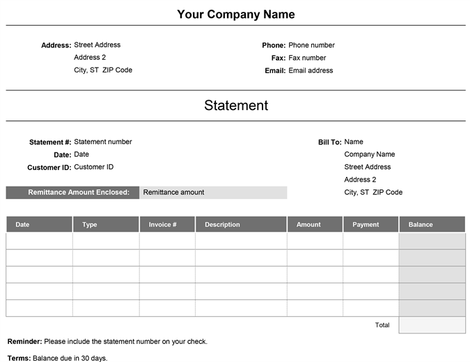 sample of billing statement letter