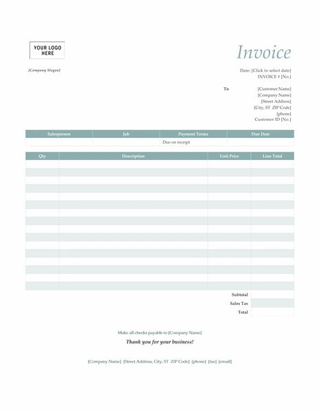 Service Invoice Simple Blue Design Office Templates - Design invoice template word for service business