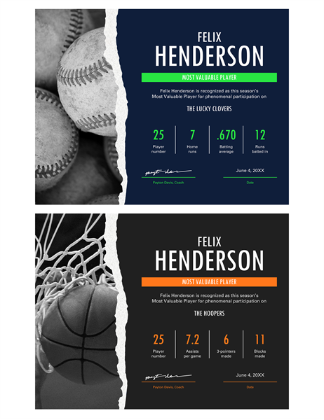 Most Valuable Player award certificate Office Templates – Sport Certificate Templates for Word
