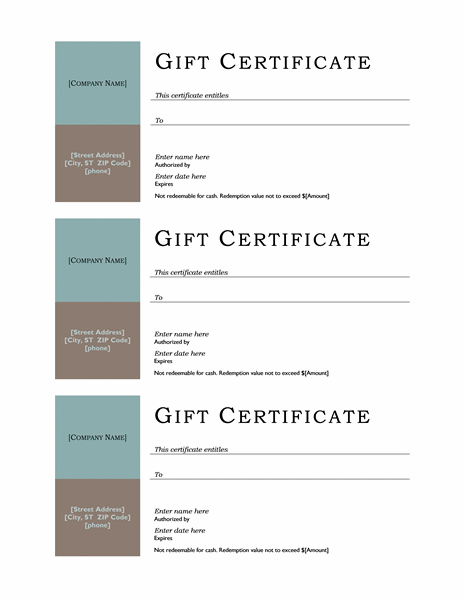 Gift certificate (no border, 3-up)