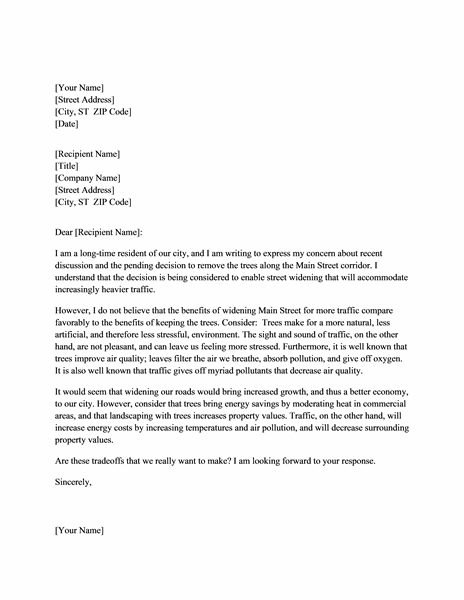 Letter expressing concern to community official - Office Templates
