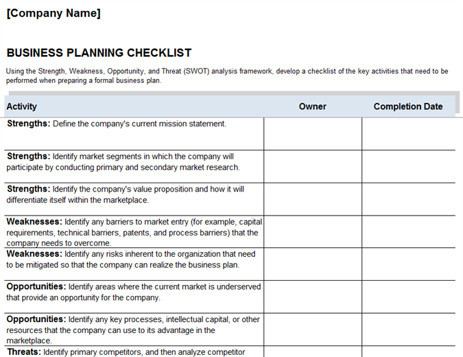Business Plan Checklist Office Templates - Business plan framework template