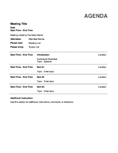 Agenda Word  Business Meeting Agenda Template Word
