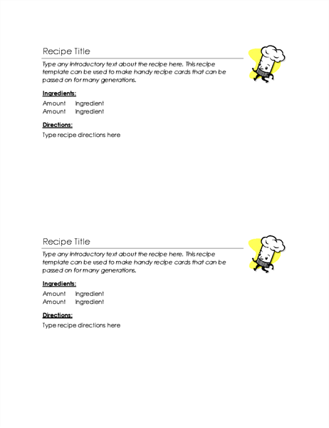 Recipe Cards (2 Per Page)  Free Recipe Card Templates For Microsoft Word