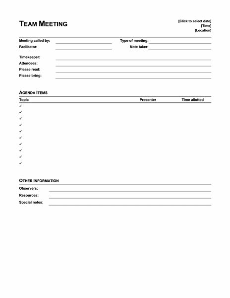 Informal Meeting Agenda Intended Microsoft Meeting Agenda Template