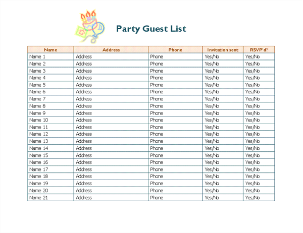 Wonderful Party Guest List  Guest List Template