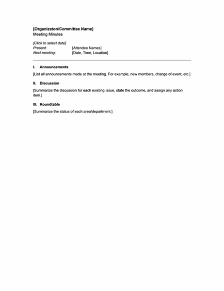 Minutes For Organization Meeting (short Form)  Organizational Change Announcement Template