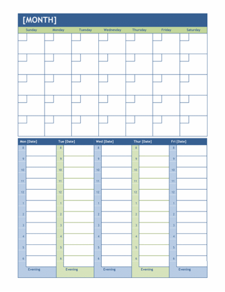 Monthly and weekly planning calendar for Office planner online