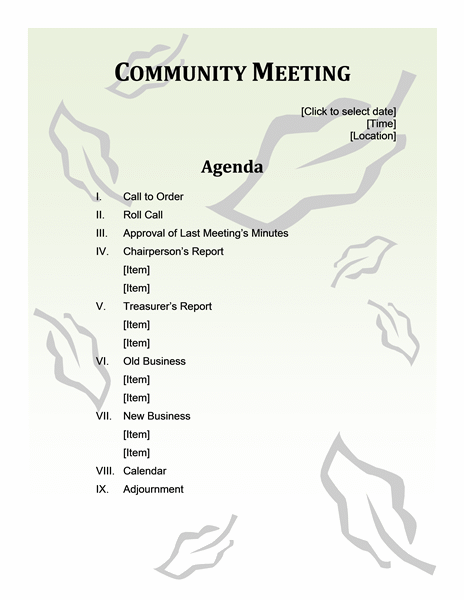 Community Meeting Agenda  Microsoft Templates Agenda