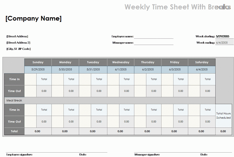 Weekly time sheet with breaks - Office Templates