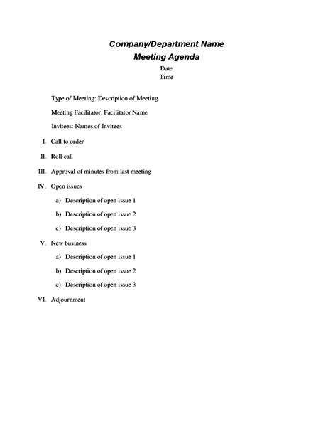Formal Meeting Agenda  Agendas Templates