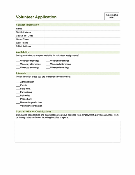 Volunteer application - Office Templates
