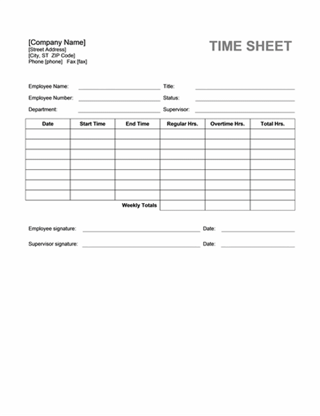 Time sheet Office Templates – Sample Blank Timesheet