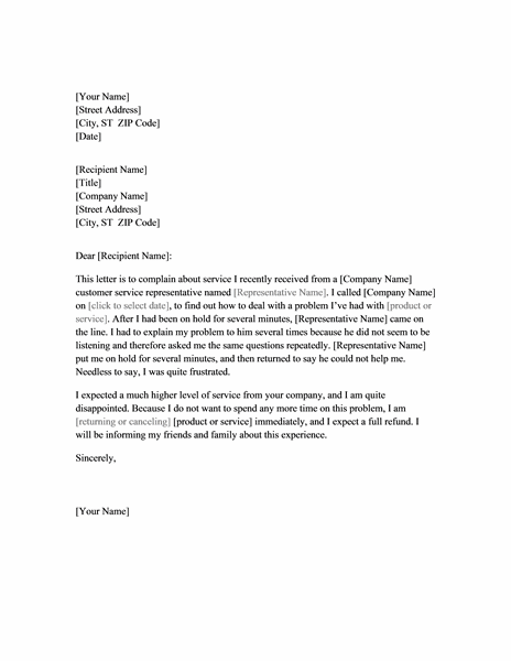 Letter of complaint about service - Office Templates