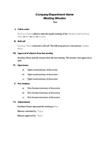 Formal meeting minutes for Taking minutes in a meeting template