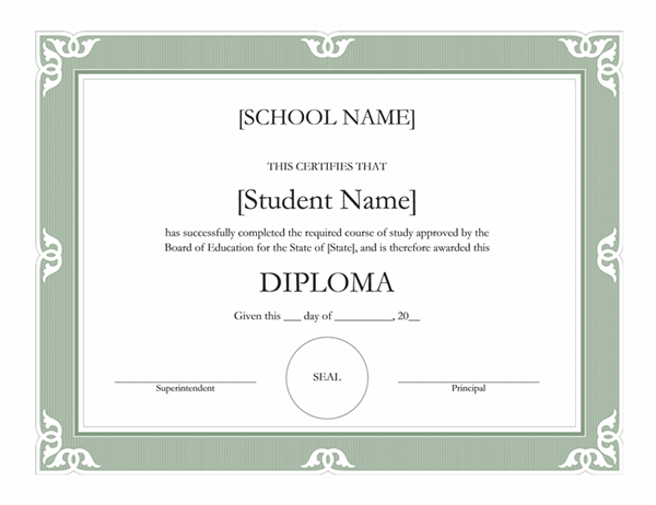 High school diploma certificate (Fancy design) - Office Templates