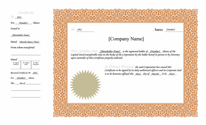 Exceptional Stock Certificate (basic Format)  Printable Stock Certificates