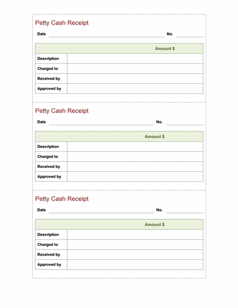 Petty cash receipt Office Templates