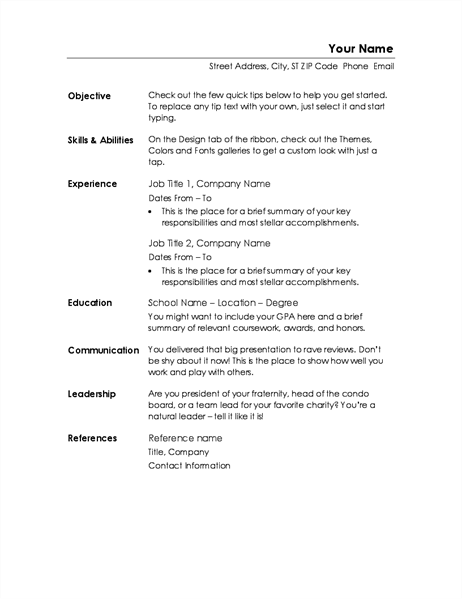 functional resume minimalist design