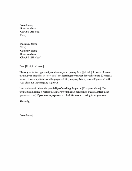 Thank you letter for job interview fice Templates