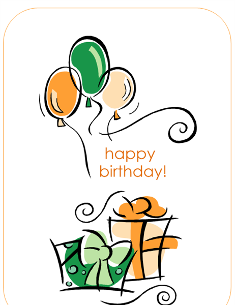 happy birthday card with balloons quarter fold