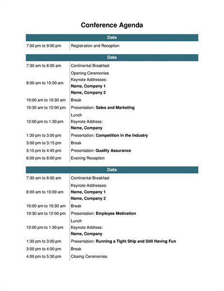 Conference agenda Office Templates – Templates for Agendas