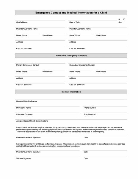 High Quality Childu0027s Emergency Contact And Medical Information And Contact Information Template