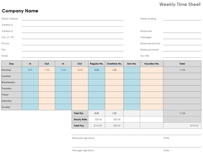 Schedules Officecom - Weekly hourly schedule template