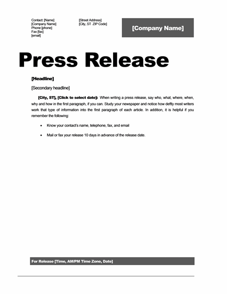 microsoft press release template