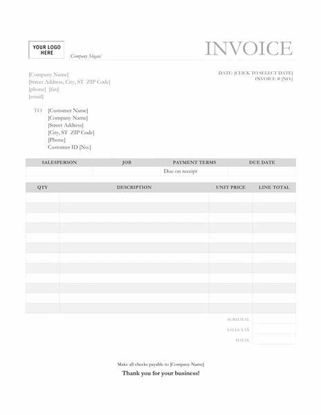 Service invoice (Garamond Gray design)