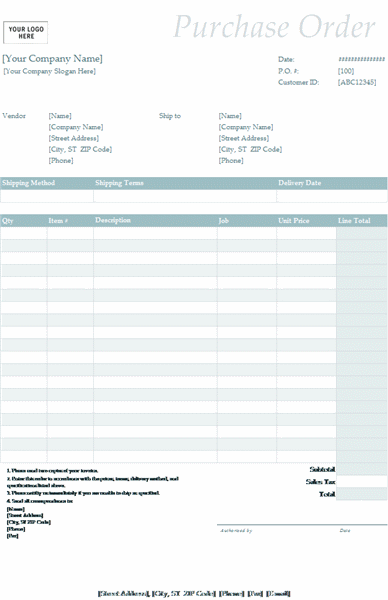 Purchase order (Simple Blue design)