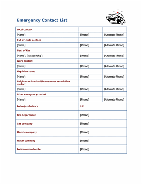 This is a photo of Printable Emergency Contact List for weekly emergency medical supply
