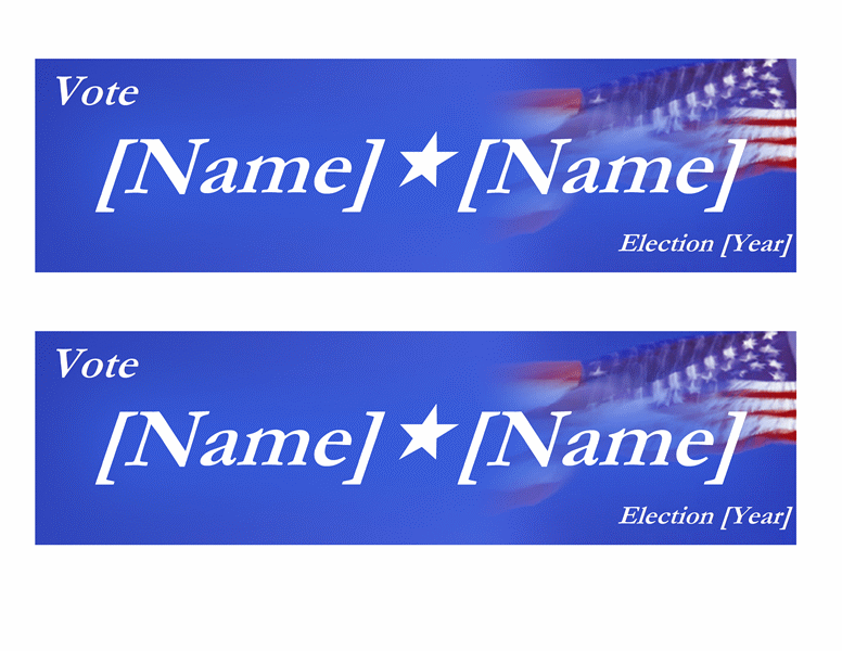 Political campaign bumper stickers (with flag, 2 per page)