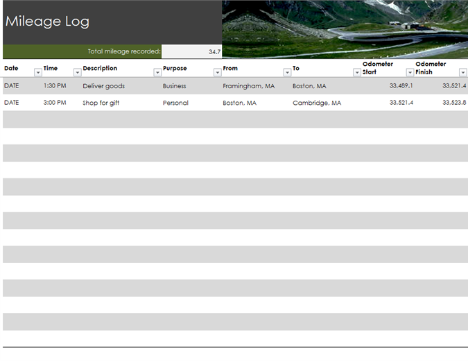 Mileage Log - Marketing log template
