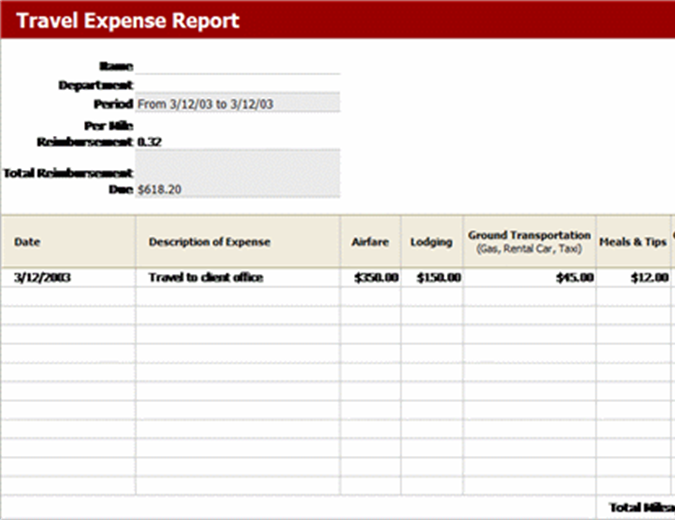 Travel expense report with mileage log Office Templates – Expense Log Template