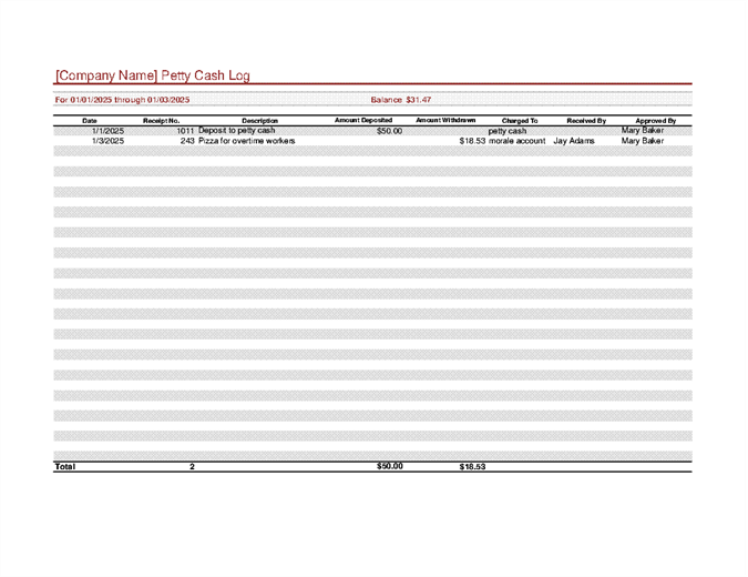 Superior Petty Cash Log