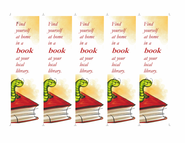Library bookmarks (5 per page)
