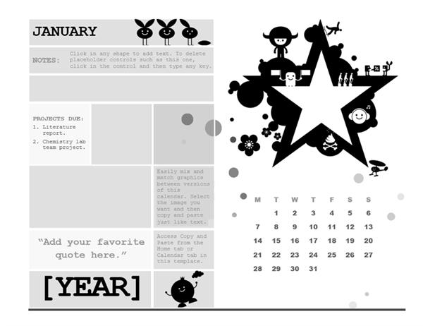 One-month student calendar (Monday start, star design)