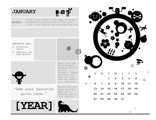 One-month student calendar (Sunday start, circle design)